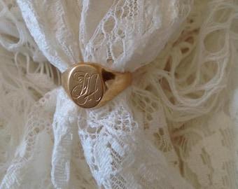 Vintage 18K gold ring, Vintage 18K ring, engraved initials ring, man ring,  engraved initials JA
