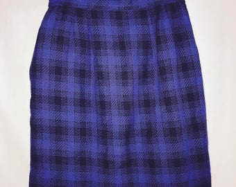 vintage black and blue checkered skirt