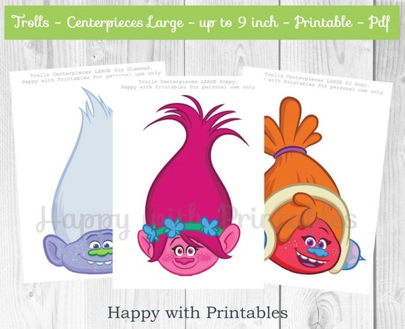 Trolls DIY Centerpiece Printable