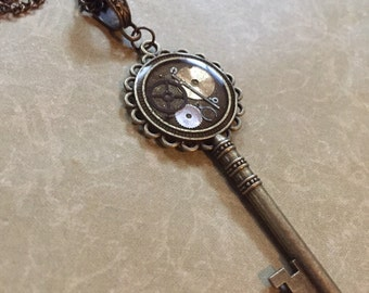 Steampunk Key Necklace (or Keychain) Gears Victorian Watch Parts Resin Unusual Upcycle Repurposed