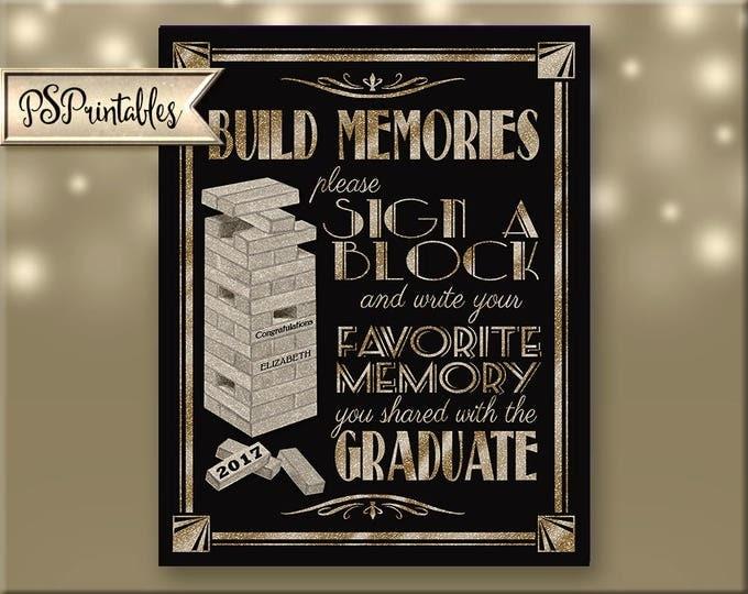 Printable Graduation Sign, 2017 grad sign, 2018 grad, 2019 grad, grad party decor, grad party 2107 graduate, graduation diy sign, BLACK GOLD