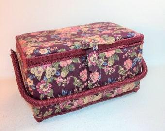 Vintage Burgundy Floral Covered Sewing Basket
