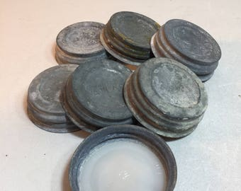 7 Vintage Zinc Atlas Jar Lids With Porcelain Inserts