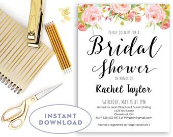 Printable Bridal Shower Invitation INSTANT DOWNLOAD Floral Shower Invitation Editable in Word Pink and Black Brunch Invitation The Rosa