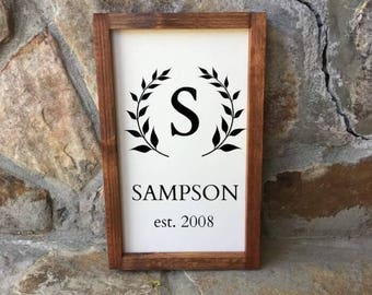 Entry way sign, Name sign, Family Name, Foyer decor