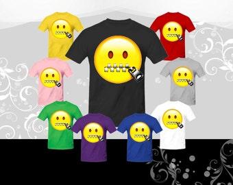 Zipper Mouth Emoji T-shirt (U+1F910)