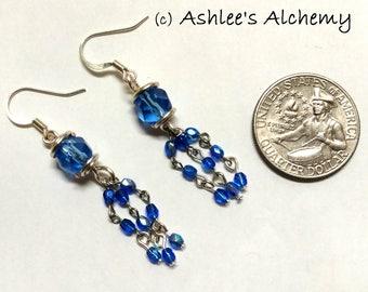 Delicate Glass Blue Dangle Earrings