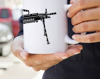 KillerBeeMoto:  U.S. Made M249 LMG Light Machine Gun Coffee Mug