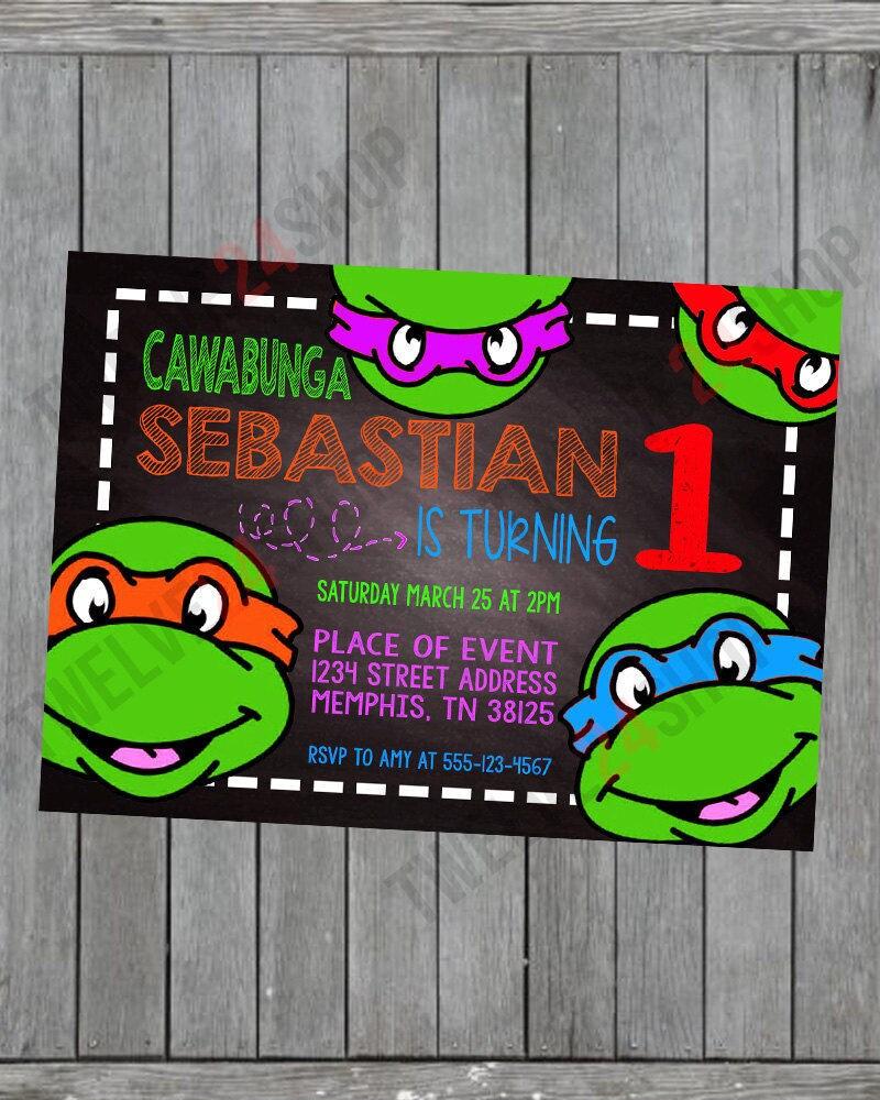 Ninja Turtle Invitation Ninja Turtles Party TMNT Invitation – Teenage Mutant Ninja Turtles Birthday Invites