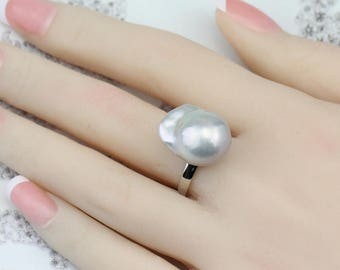 14mm Grey color large baroque pearl ring,freshwater pearl ring,big size pearl ring,silver open ring,unique ring,unique gift for her