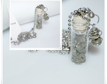 Bottle luck glass pendant glass pendant vial vial pyrite gemstone stainless steel necklace pendant pendant glass vial pyrite nature stone