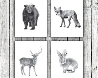 Nursery Art Printables, Woodland Nursery, Animals, Floral Wreathes, Black and White, Set of 4 JPEG 8x10s #607