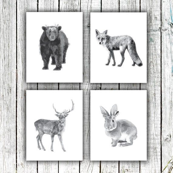 Nursery Art Printables, Woodland Nursery, Animals, Floral Wreathes, Black and White, Set of 4 JPEG 8x10s #607
