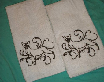 PAIR hand towels - Siamese Cat - EMBROIDERED 15 x 25 inch for kitchen or bath