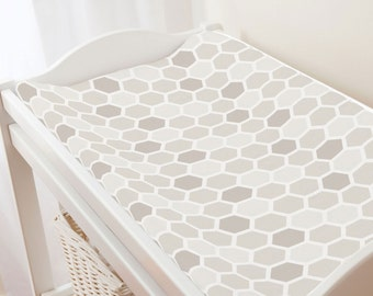 Carousel Designs Taupe Honeycomb Changing Pad Cover