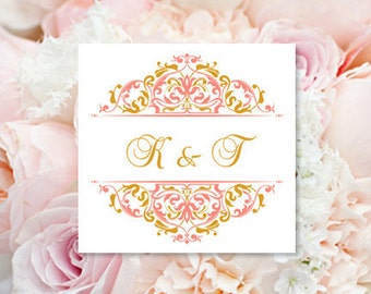 "Labels for Wedding Favors 2 x 2 ""Grace"" Coral & Gold Pocket Fold Wedding Invitations Seal Word.doc Avery 22806 All Colors DIY U Print"