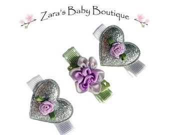 Heart Hair Clips * Girls Hair Clips * Sparkle Hair Clips *Flower Hair Clips * Pink Gold Silver White Purple * Clippies * Baby Toddlers * ZBB