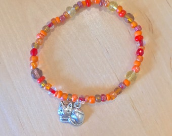 CRAZY Cat Lady BRACELET colorful glass crystal beads Great gift for mom cat lover gift orange beads red beads