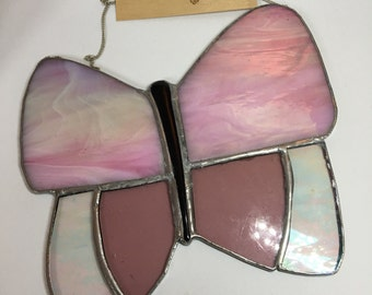 Large simple stained glass butterfly