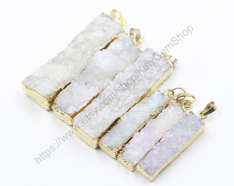 White Druzy Pendants -- With Electroplated Gold Edge Handmade Drusy Geode Charm YHA-170