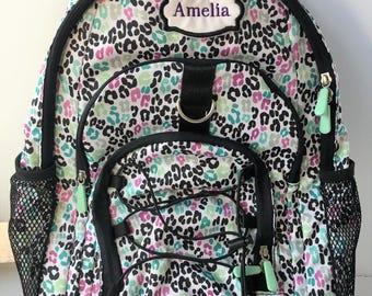 Rolling backpack, Pottery Barn Kids girls cheetah print rolling backpack, personalized girls backpack, monogrammed
