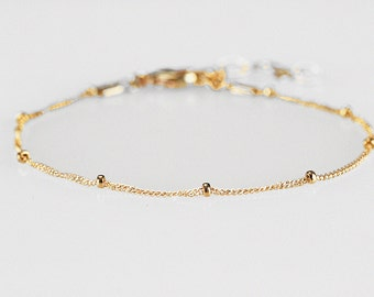 Gold chain bracelet, Dainty gold chain, Dotted bracelet, Satellite, Delicate layering bracelet, Dew drops Stacking Gold bracelet Silver