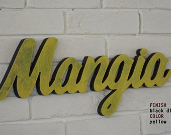 BLACK DISTRESSED Mangia wood sign kitchen WALL decor – home décor, Italian saying. Rustic style decoration. Kitchen & Dining.