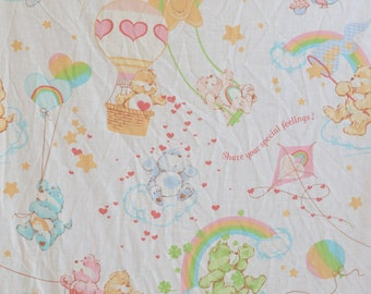 1982 Vintage Care Bears Twin Flat Sheet American Greetings Corp 80s Bed Linens