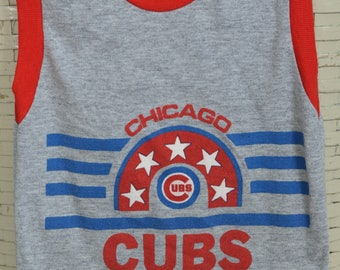90s Chicago Cubs Sleeveless Shirt Youth Size 6 MLB Baseball Fan Heather Grey Tank Top Wrigley Field