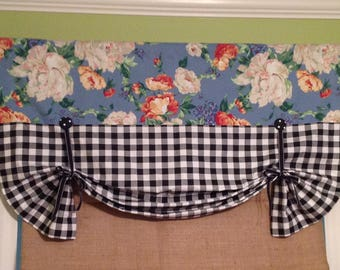 Ready To Ship....Pretty Blue Floral Faux Pleated Relaxed Shade Display with Coordinating Black and White Check  Fabric ......Hand Made.