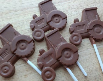 Belgian chocolate tractor lollipops. Lolly. Lollies. Party favours. Party bag.