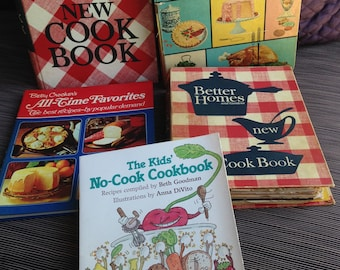 Betty Crocker New Picture Cookbook Text Edition (60's), Better Homes & Gardens (1971), ('62?), Kids No Cook Cookbook, B C All Time Favorites