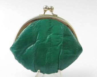 Genuine Eelskin Change Purse, Kiss Clasp Pocket Purse, Leather Coin Purse