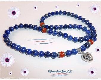 Lapis Lazuli & Carnelian Necklace Heart Pendant
