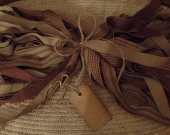 "50 Primitive Homespun Fabric Strips~Cinnamon~Vanilla Scented Hang Tag~Brown Sugar Collection~ 1"" x 18"" ~Ties~Bows~Crafts~Accents~"