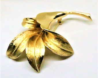 Lily Brooch - Vintage, Coro Signed, Gold Tone Floral Pin