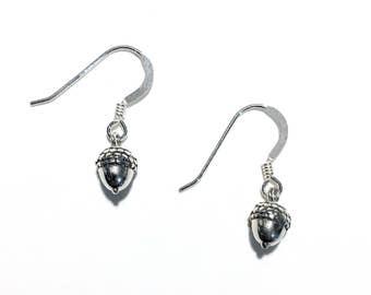 Sterling Silver Tiny Acorn Drop Earrings