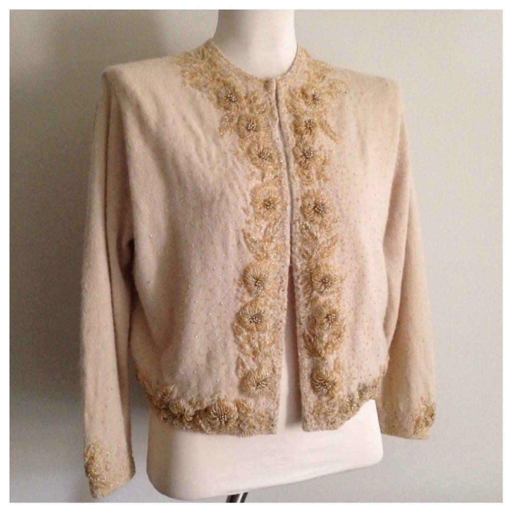 Vintage 1950s - long sleeve tan gold floral beaded wool angora ...