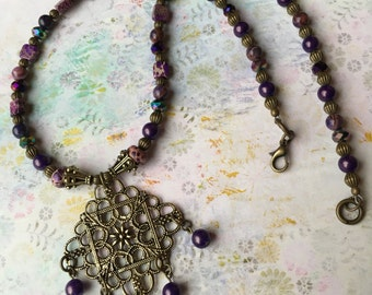 Item 186  Beaded Necklace With Filligree Pendant