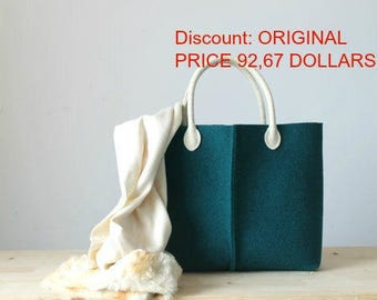 Discount: Original Price, 92,67 Dollars - Elegant and Casual Teal Felt Bag from Italy, Tote Bag, Felted bag, Market Bag, Felt Tote.