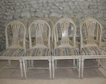 Set of 12 SWEDISH GUSTAVIAN-STYLE Vintage Dining Chairs.With original cream-white Paintwork.Swedish dining chairs in the 18th Century Style.