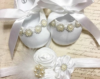 White Satin Baby Girl Soft Sole Shoes with Headband Set