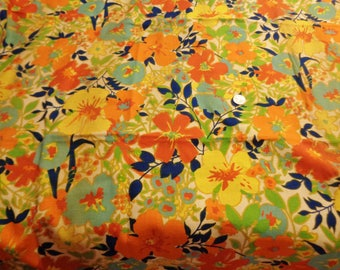 Vintage '70's MOD Floral Heavy Linen Fabric or Curtains - Rare Vintage Everfast Fabric - 2 Pieces - Flower Power - Groovy Vintage