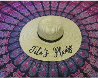 Tito's Please embroidered beach hat, bachelorette party, girls weekend away, sun hat