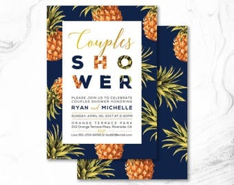 Tropical Couple Wedding Shower Invitation, Printable Digital Invite _ CPS17_08 Navy & Gold, Pineapple