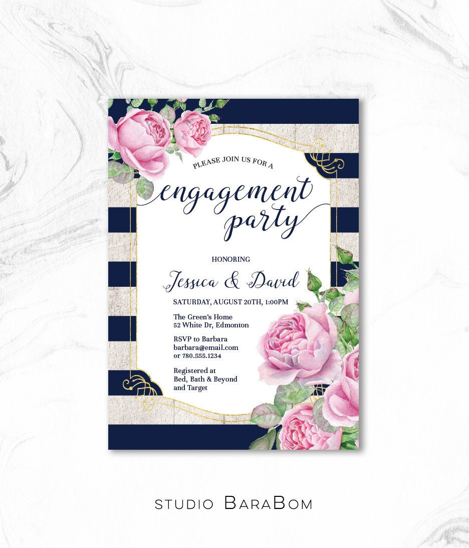 Engagement Invitation, Engagement Party Invitation Printable ...