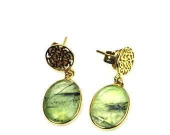 Prehnite Earrings, Natural Gemstone Earrings, Antique Style Earrings