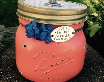 Keepsake mason Jar shabby chic personalize