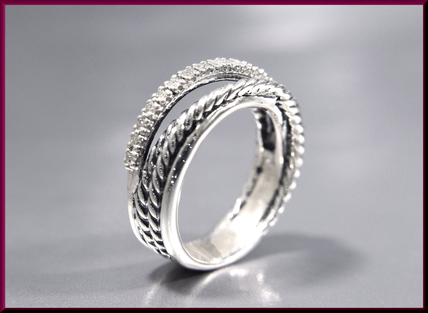 Reserved For Frances Vintage David Yurman Crossover Collection Sterling  Silver And Diamond Cocktail Ring Statement Ring Band  Dy 47