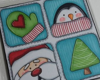 welcome Winter Snowman 4x4 Original painting by Megan